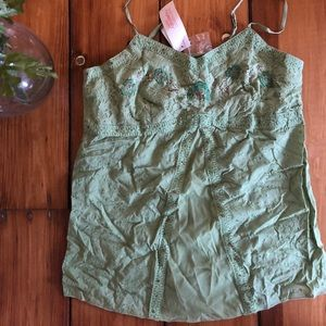 Green lace and sparkly maternity camisole